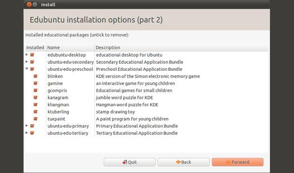 Edubuntu: schermata della scelta del pacchetto in base alla fascia scolastica
