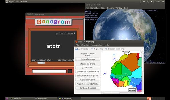 Edubuntu: schermata d'esempio di software educativi