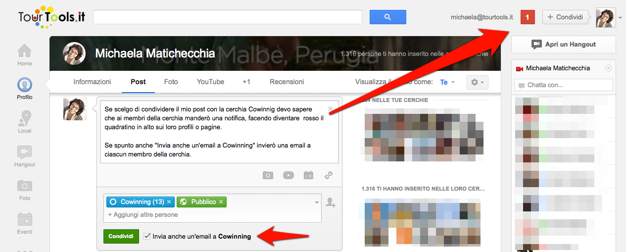 Come notificare un post su Google Plus