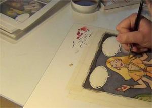 Julie Maggi disegna un personaggio del suo fumetto Lamour