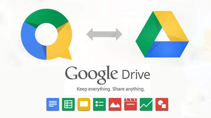Le icone mostrano le potenzialità d'uso di Quickoffice e Google Drive
