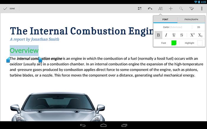 Un esempio d'uso di QuickOffice