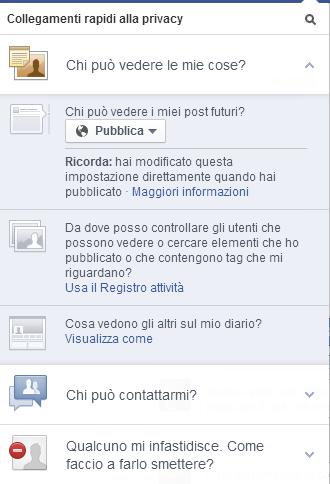 Settaggio impostazioni privacy Facebook